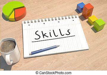 vaardigheden, tekst, concept