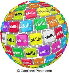 vaardigheden, woord, op, bol, bal, noodzakelijk, ervaring,...