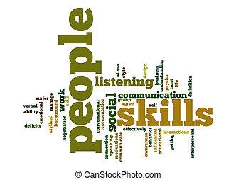 vaardigheden, woord, wolk, mensen