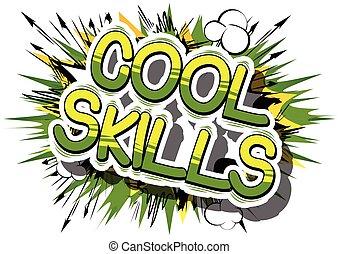 vaardigheden, word., -, boek, komisch, koel