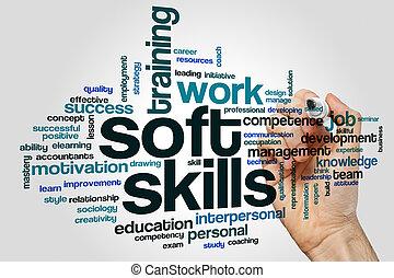 vaardigheden, zacht, woord, wolk