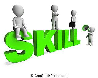 vaardigheid, karakters, optredens, expertise, bekwaam, en,...