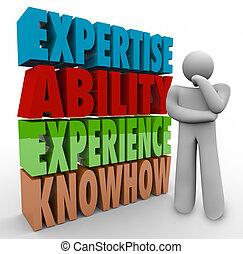 vaardigheid, knowhow, kwalificaties, denker, ervaring, werk...