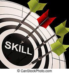 vaardigheid, op, dartboard, optredens, gained, vaardigheden