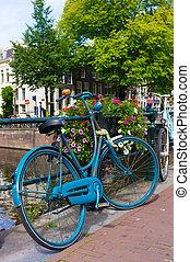 vaart, fiets, traditionele , geparkeerd, hollandse, amsterdam
