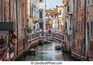 vaart, gebouwen, italië, venetie, venetiaan, grande,...