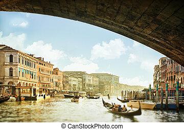 vaart, italië, venetie, panoramisch, grande, aanzicht