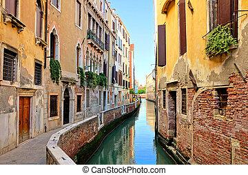vaart, mooi, italië, venetie, schilderachtig, smalle , stad