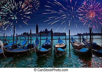 vaart, venetie, feestelijk, op, vuurwerk, grande