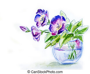 vaas, lentebloemen, watercolor, illustratie