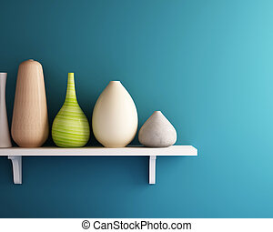 vaas, op wit, plank, met, blauwe muur
