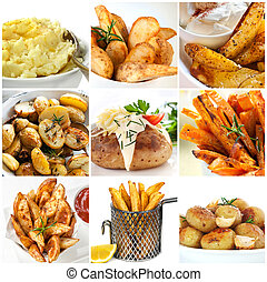 vaat, verzameling, aardappel