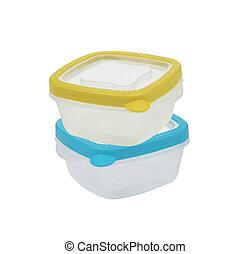vacío, alimento, aislado, fondo blanco, plástico, ...