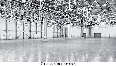 vacío, almacén, en, blanco, color., 3d, ilustración