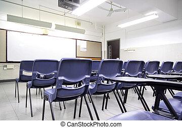 vacío, aula, con, silla, y, tabla