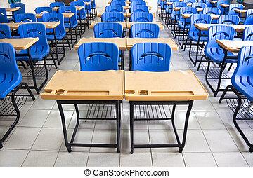 vacío, aula, en, escuela