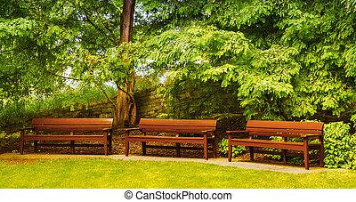 vacío, bancos, en, un, hermoso, park., serenidad, y,...