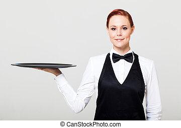 vacío, bandeja, bastante, camarera