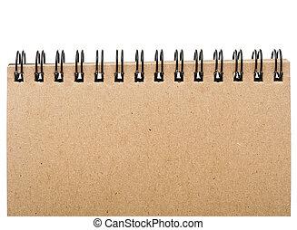 vacío, blanco, página delantera, cubierta, de, espiral salta, almohadilla nota, aislado, aislado, blanco, fondo.
