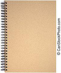 vacío, blanco, página delantera, cubierta, de, espiral salta, almohadilla nota