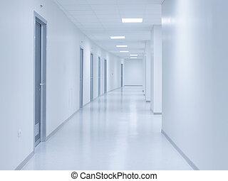 vacío, blanco, pasillo, plano de fondo, con, puertas