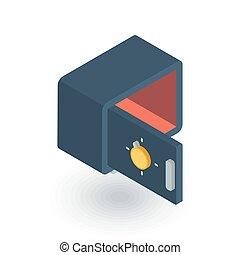 vacío, caja fuerte abierta, isométrico, plano, icon., 3d, vector