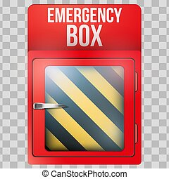 vacío, caja, rojo, caso, emergencia