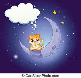 vacío, callout, luna medialuna, gato