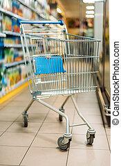 vacío, carro de compras, en, supermercado