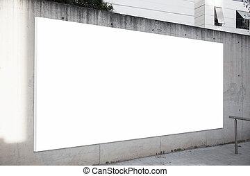 vacío, cartelera, en, el, concreto, gris, fondo., pantalla blanca