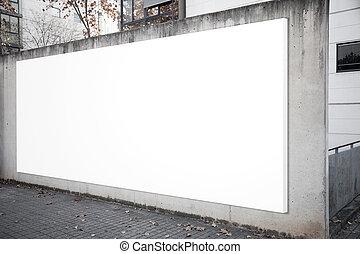 vacío, cartelera, pantalla, en, el, concreto, gris, fondo.