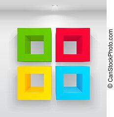 vacío, colorido, estantes