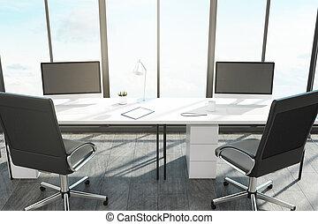 vacío, computadora, en, moderno, oficina