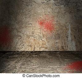 vacío, concreto, habitación, con, sangre, salpicadura