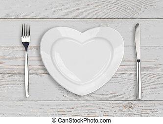 vacío, corazón, placa, punta la vista, blanco, madera, tabla