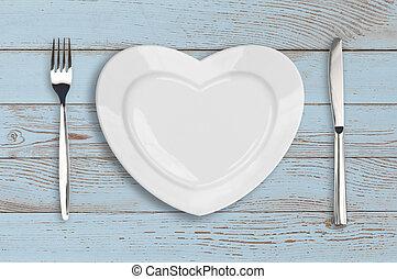 vacío, corazón, placa, punta la vista, en, azul, madera, tabla