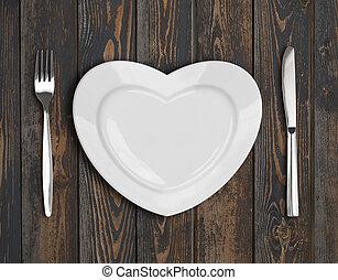 vacío, corazón, placa, punta la vista, en, madera, tabla