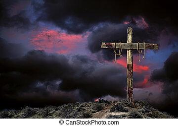 vacío, cruz, contra, un, enojado, cielo