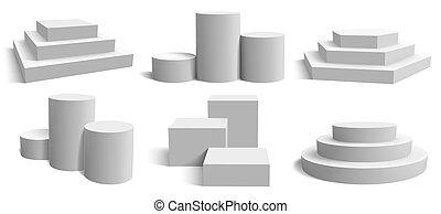 vacío, cuadrado, redondo, ilustración, vector, realista, ...
