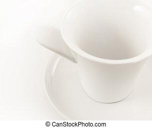 vacío, cup;, café, blanco