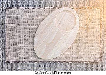 vacío, de madera, barco de cabotaje, en, saco, plano de fondo, para, un, taza, y, snack.