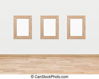 vacío, de madera, marcos, en, un, pared blanca