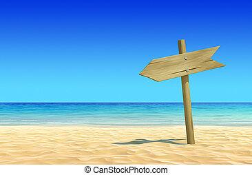 vacío, de madera, poste indicador, en la playa