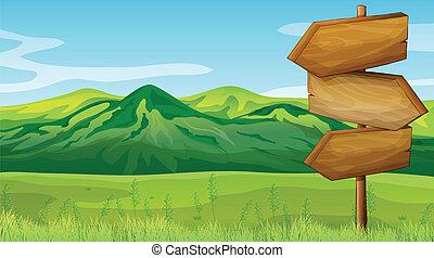 vacío, de madera, signboard, a través de, el, montañas