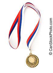 vacío, dorado, medalla, plantilla