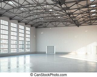 vacío, edificio, brillante, hangar, interior., 3d,...