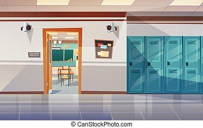 vacío, escuela, pasillo, con, armarios, vestíbulo, puerta...