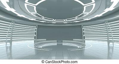 vacío, futurista, interior