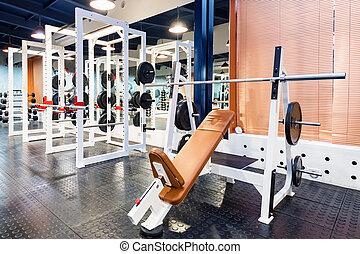 vacío, gimnasio, prensa, ejercite banco, máquina, moderno