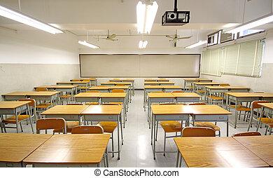 vacío, grande, aula, en, escuela